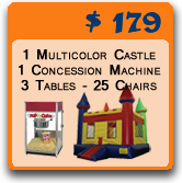 bounce house, concession machine